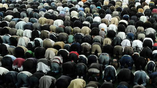 Worshippers Pray During Friday Prayers At Mosque