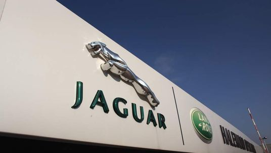 The Jaguar motif stands outside the Jaguar Land Rover Halewood assembly plant on March 2, 2011 in Halewood, England.