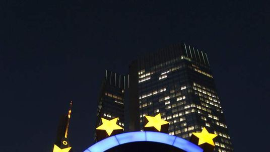 The Euro sign is seen in front of the ECB in Frankfurt