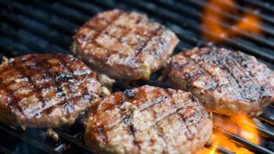 Hamburgers on the grill