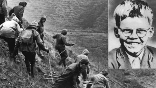 A search is carried out on Saddleworth Moor for missing child Keith Bennett in October 1965