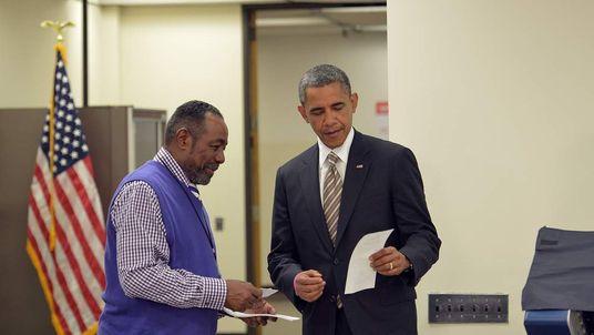 President Barack Obama at a polling station in Chicago