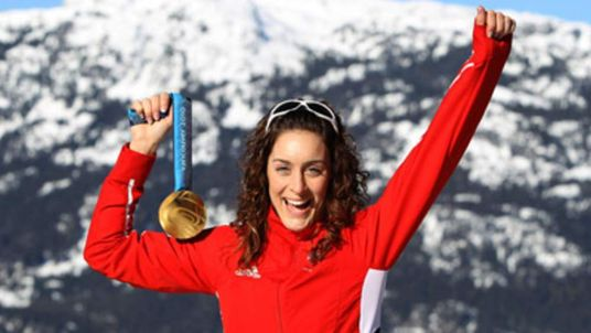 British skeleton gold medal winner Amy Williams at the Vancouver Games on February 21.