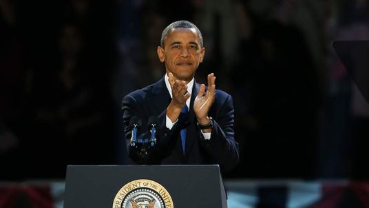 U.S. President Barack Obama walks out on stage to deliver his victory speech
