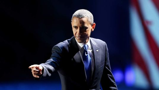 U.S. President Barack Obama waves to supporters after his victory speech