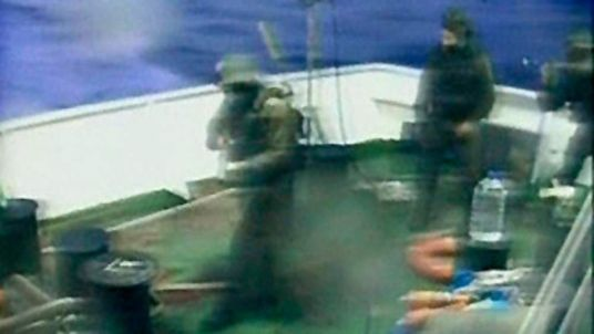Israeli commandos on a Gaza-bound ship in the Mediterranean Sea