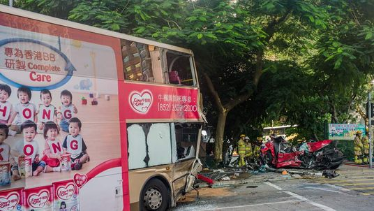 The bus and the taxi after the crash