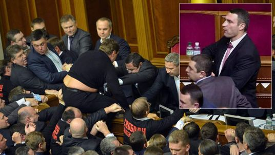 Vitaly Klitschko Watches Ukraine Parliament Fight
