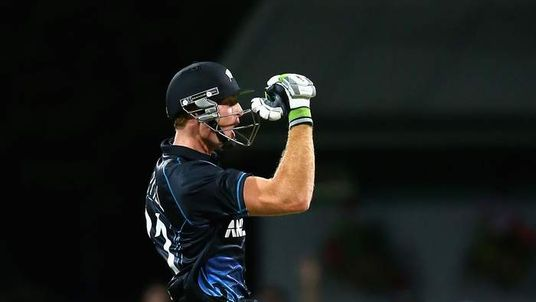 Guptill celebrates as New Zealand beat England