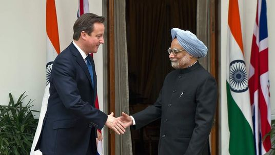David Cameron meets Indian PM Manmohan Singh
