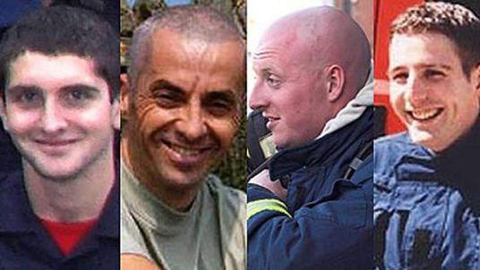 Warwickshire firemen Ashley Stephens, Ian Reid, Darren Yates-Badley, John Averis