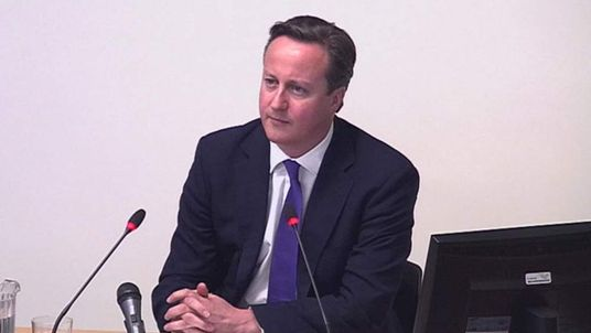 Prime Minister David Cameron testifying at the Leveson Inquiry