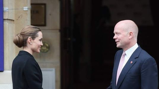 Angelina Jolie meeting William Hague in London