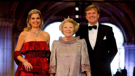 Queen Beatrix, her son Prince Willem-Alexander and his wife Princess Maxima