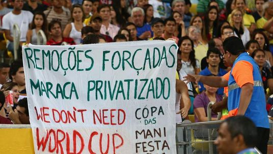 Protests at the Spain v Tahiti: Group B - Confederations Cup match in Rio