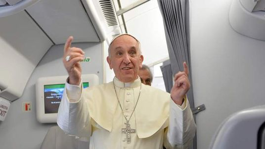 Pope Francis addresses journalists on the flight from Italy