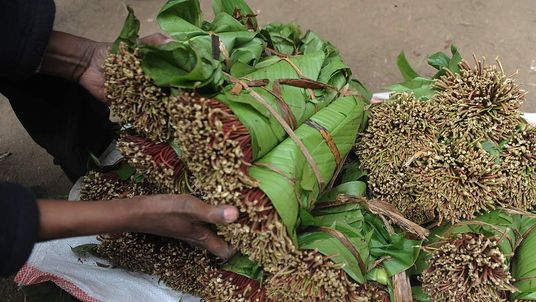 Kenyan khat traders sorting their produce from their farms and awaiting consumers in a market in Nairobi.