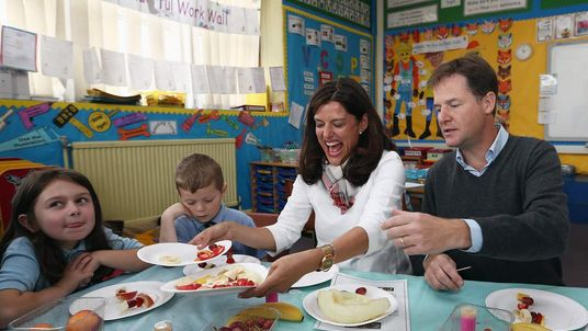 Nick Clegg and wife Miriam at a primary school in Scotland