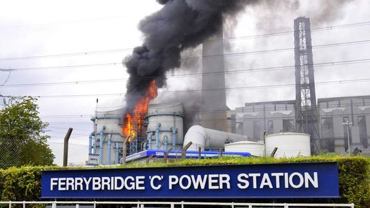 Ferrybridge power station fire. Pic: Matthew Merrick.