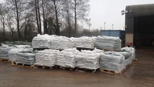 Some of the 20,000 sandbags that are ready to be deployed to communities at risk of flooding in Somerset