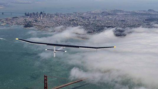 Solar Plane Flies Over San Francisco