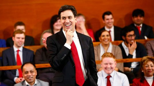 Britain's Labour Party Leader Ed Miliband smiles during a speech on the cost of living in Birmingham