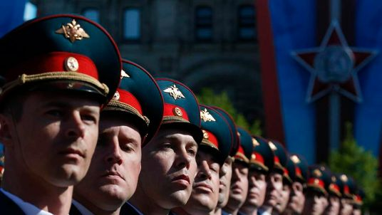 Russian servicemen march during the Victory Day parade in Moscow's Red Square