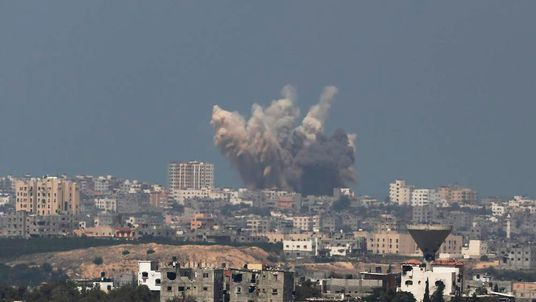 Smoke rises in the Gaza Strip after an Israeli strike
