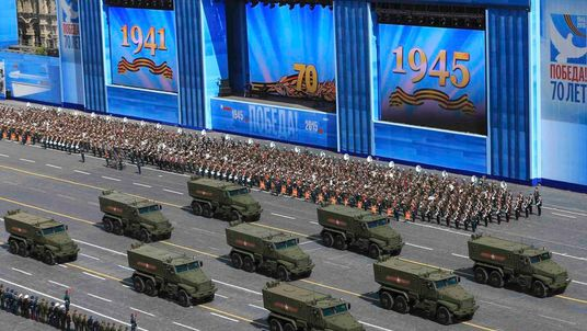 Russian Typhoon-U all-terrain armoured vehicles with enhanced protection drive during the Victory Day parade at Red Square in Moscow