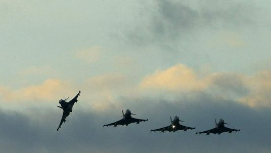 RAF Typhoons fly above RAF Akrotiri in southern Cyprus
