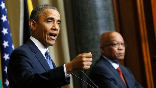 U.S. President Obama speaks during a joint news conference with South Africa's President Zuma at the Union Buildings in Pretoria