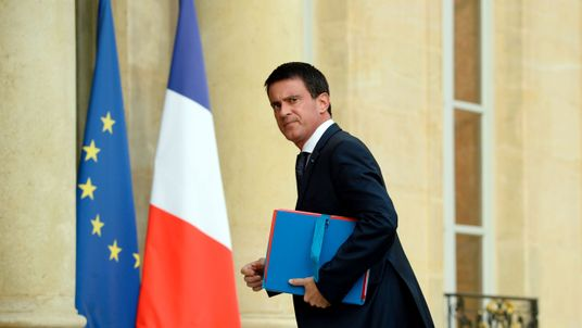 Mr Valls at the Elysee Palace in Paris