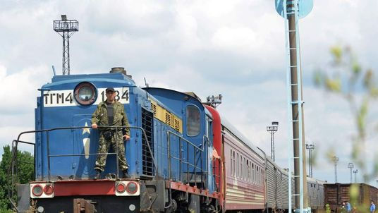 The train carrying the 280 bodies recovered from the downed Malaysian flight MH17 arrives in Kharkiv