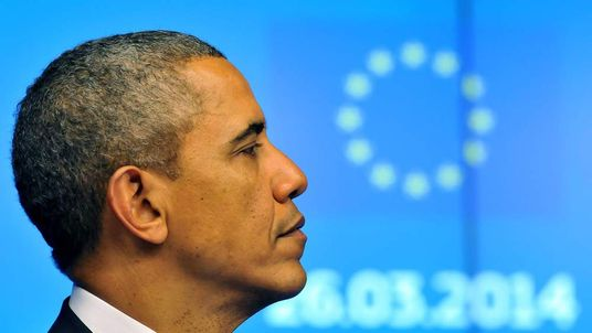 President Obama speaks at the European Union headquarters in Brussels.