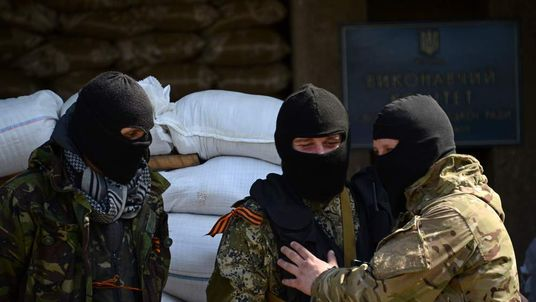 Pro-Russian activists in Slavyansk, Ukraine