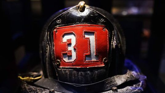 Surviving firefighter Dan Potter's fire helmet, which he used at Ground Zero