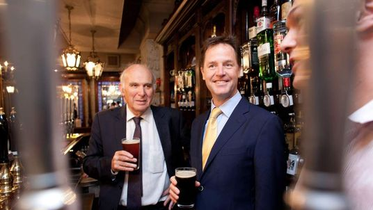 Deputy Prime Minister Nick Clegg And Vince Cable Visit A Soho Pub
