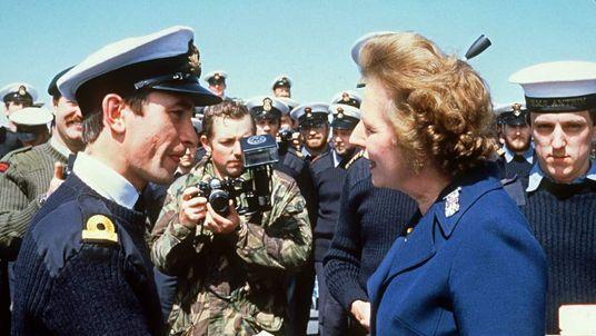 British Prime Minister Margaret Thatcher meets per