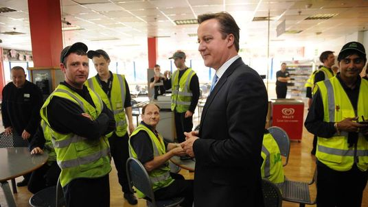 David Cameron with workers in Kent