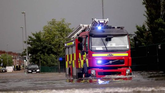 Fire Engine Caught In Belfast Floods