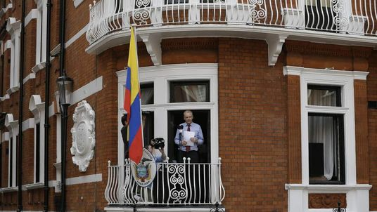 Julian Assange, founder of WikiLeaks makes a statement from a balcony of the Equador Embassy in London.
