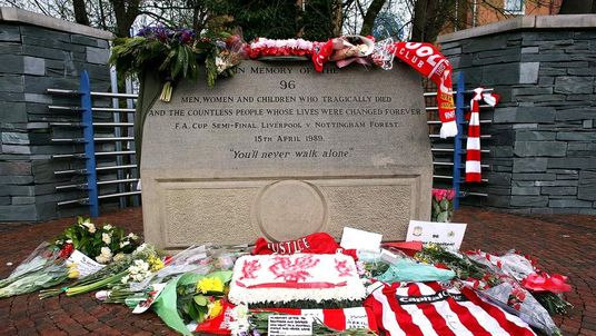 Tributes at the Hillsborough disaster memorial at Sheffield Wednesday FC