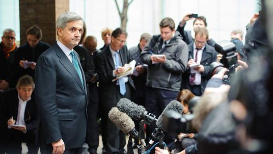 Chris Huhne outside Southwark Crown Court