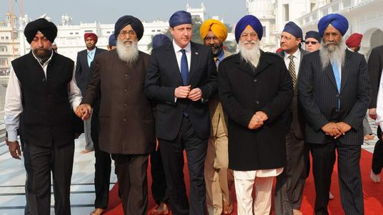 David Cameron at the Golden Temple at Amritsar