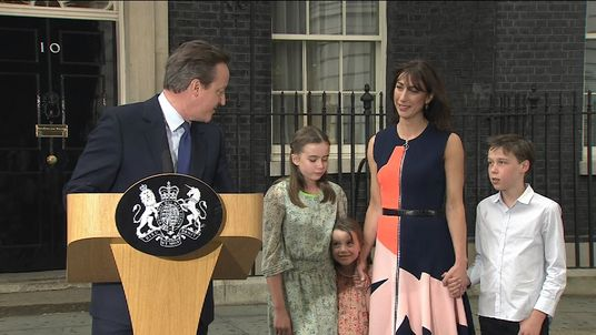 David Cameron Looks At Daughter During Leaving Speech