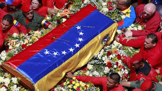 The flag-draped coffin containing the body of Venezuela's late President Hugo Chavez