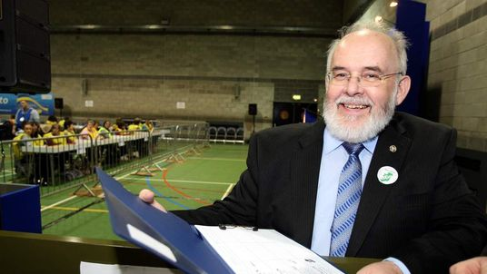 Sinn Fein's Francie Molloy arrives at the count centre in Cookstown, Co Tyrone