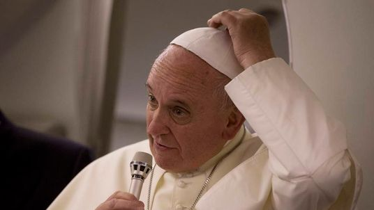 Pope Francis On Plane After End Of Middle East Trip