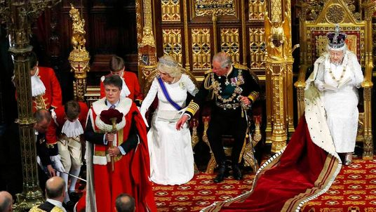 Queen Elizabeth II delivers her speech in the House of Lords