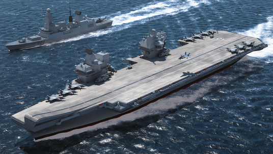 An artist's impression of the new aircraft carrier HMS Queen Elizabeth. Pic: Aircraft Carrier Alliance